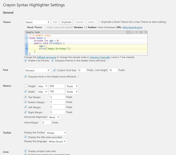 Crayon Syntax Highlighter管理画面
