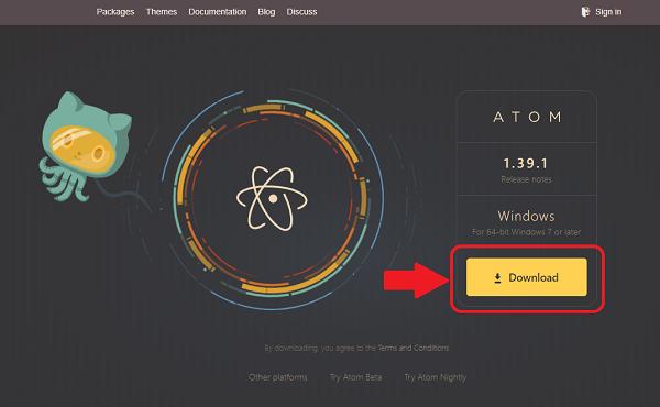 Atomエディタ ダウンロードページ