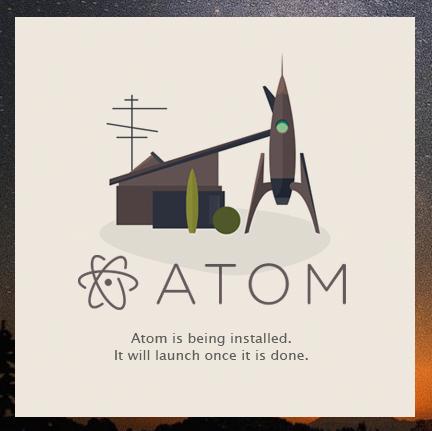 Atomエディタ インストール中