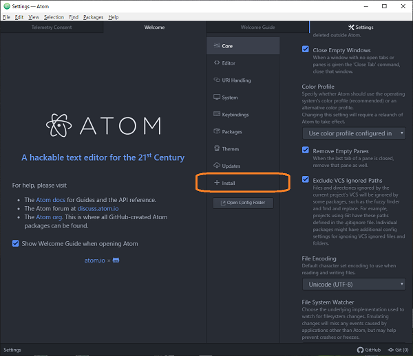 Atomエディタ(Packages Install)