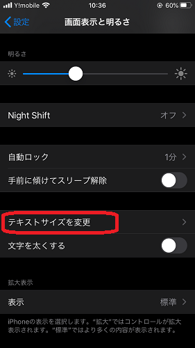iOS(テキストサイズを変更)