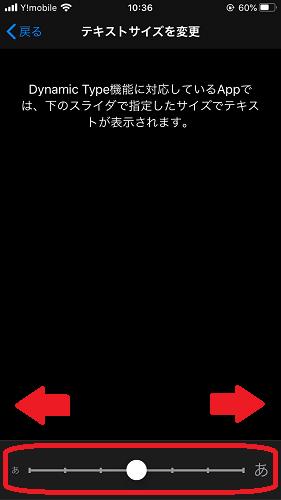 iOS(テキストサイズを変更画面)