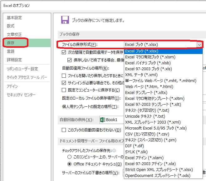 Excel(オプション画面「保存形式」)