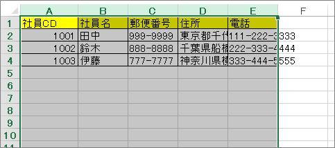 Excel(表 選択後)
